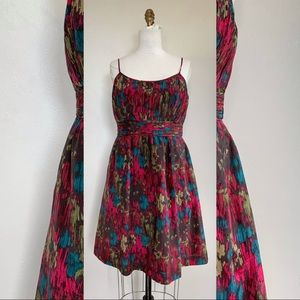 Abstract Watercolor Vibrant Empire Waist Dress NWT